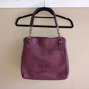 Tory Burch Pebbled Leather Harper Bag: Deep Merlot